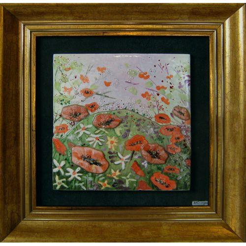 Tablou mozaic și vitraliu flori