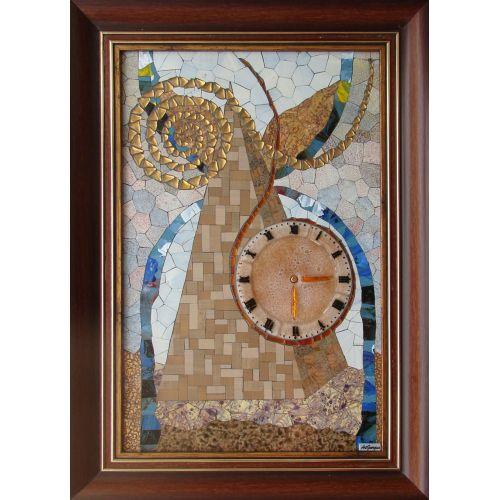 Tablou mozaic și vitraliu ceas